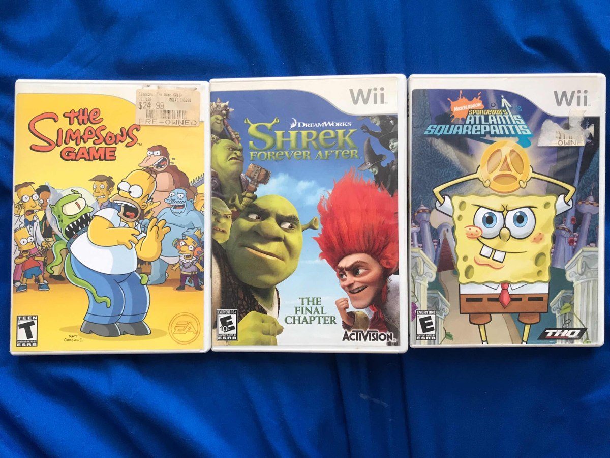 Juegos Para Wii Los Simpsons Shrek Y Bob Esponja 650 00 En