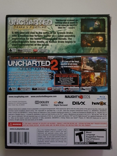 juegos ps3  uncharted dual pack 1 y 2