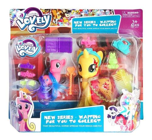 jueguete pony y unicornio con accesorios 32x28cm para niña