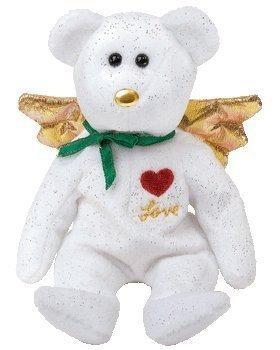 juguete 1 x ty beanie bebé - regalo del oso del amor (white