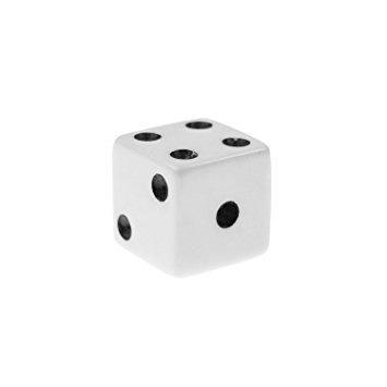 juguete 16 mm estándar dados blancos con negro pips puntos