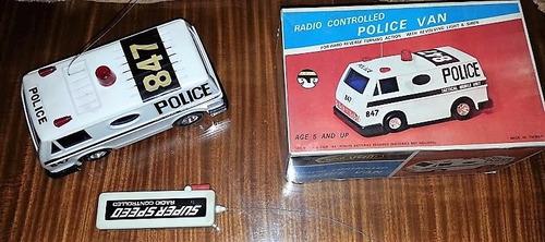 juguete antiguo camioneta van policia c.remoto caja vintage