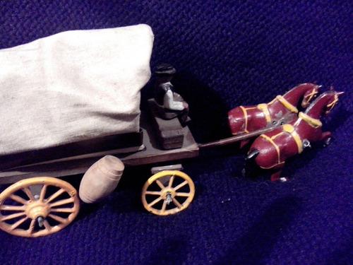 juguete antiguo - carreta a escala (plomo, madera, tela)