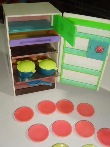 juguete antiguo de mercado refrigerador y alacena  plástico