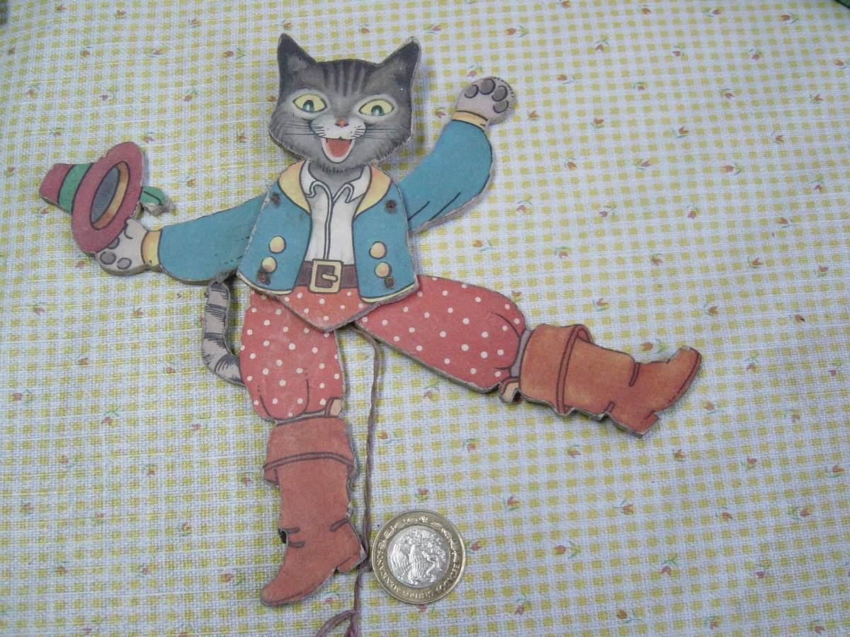 Juguete antiguo gato con botas en madera 50 39 s - Juguetes antiguos de madera ...