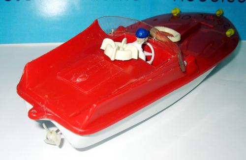 juguete antiguo lancha a cuerda lata y plastico - germany