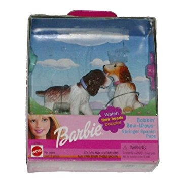juguete barbie bobina bow-wow perros bobble head de aguas d