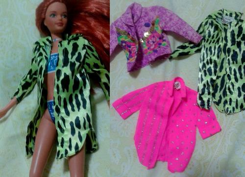 juguete barbie set de blusas y chaquetas