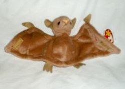 juguete batty el bat (brown w / nariz rosa) - ty beanie bab
