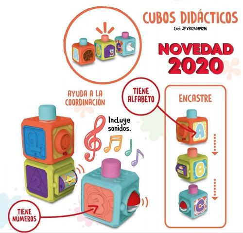 juguete bebe cubo didactico encastrable apilable musica 6m+