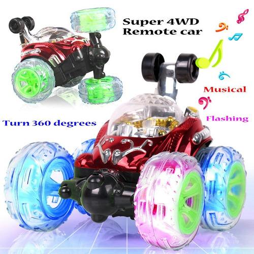 juguete carro loco a control remoto gira 360g con luces led