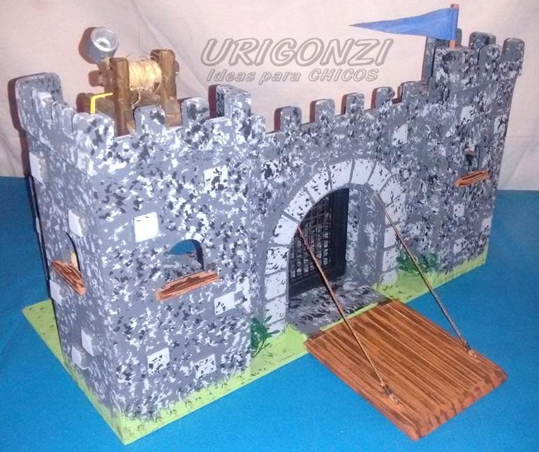 Niños Medieval Fuerte Castillo Pintado Juguete Madera Chicos gY7f6by