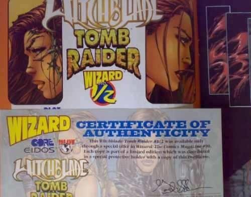 juguete comic tomb raider y witchblade 1/2 con certificado