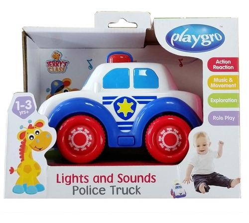 juguete de bebe auto de policia luces y musica playgro