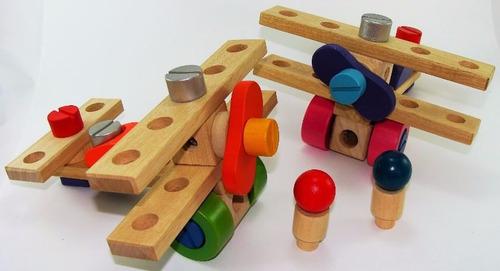 juguete de madera didáctico para armar avión biplano krecos
