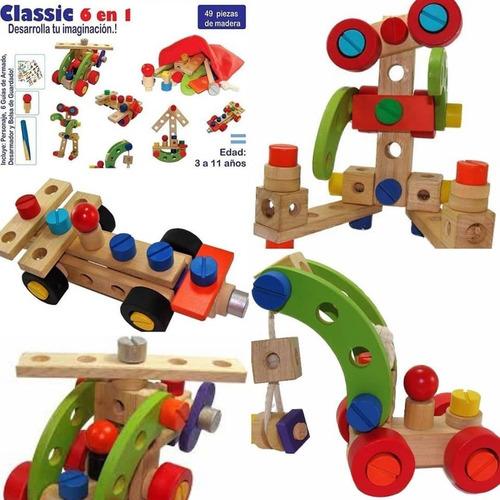 juguete de madera para fomentar la creatividad: 49 piezas