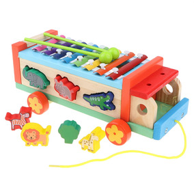 De Piano 1 Coche En Niños Tiro Madera 3 Juguete Jueg Animal PZXkOui