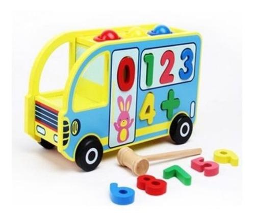 juguete didáctico bus encajar madera formas inteligencia