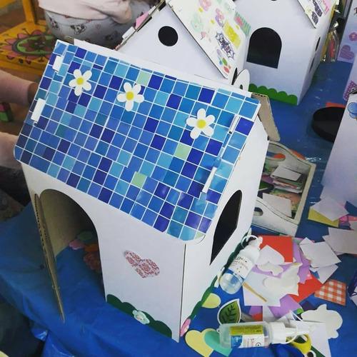 juguete didáctico casa princesa p/pintar + sticker + colores
