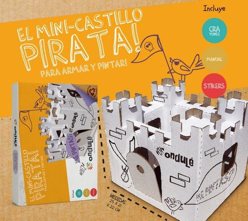 juguete didáctico castillo pirata + stickers + colores