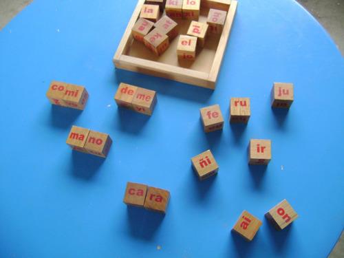 juguete didáctico cubos silábicos