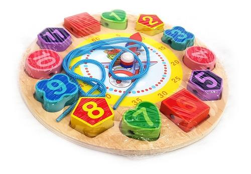 juguete didáctico educativo madera reloj encajar