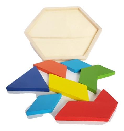 juguete didáctico educativo madera tangram hexagonal