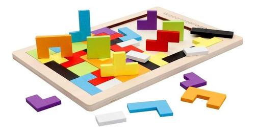 juguete didáctico educativo madera tangram tetris bloques