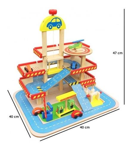 juguete didactico en madera, parqueadero publico