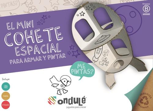 juguete didáctico niños cohete p/pintar + stickers + colores