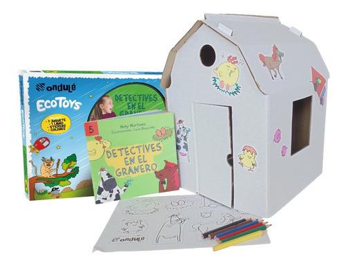 juguete didáctico niños granero p/pintar + stickers + libro