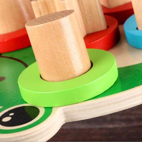 juguete didáctico rana madera motricidad iq habilidad