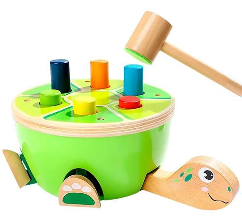 juguete didactico tortuga de descarga con martillo colores