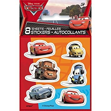 juguete disney cars planchas de calcomanías, 8ct