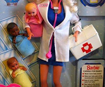 juguete el dr. muñeca barbie w 3 baby dolls - colección de