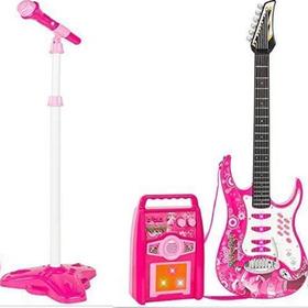 Juguete Guitarra Eléctrica Con Amplificador Micrófono Niñas
