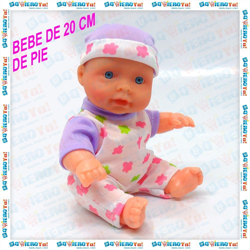 juguete muñeca bebe bebote con cunita + mamadera poppi 28066