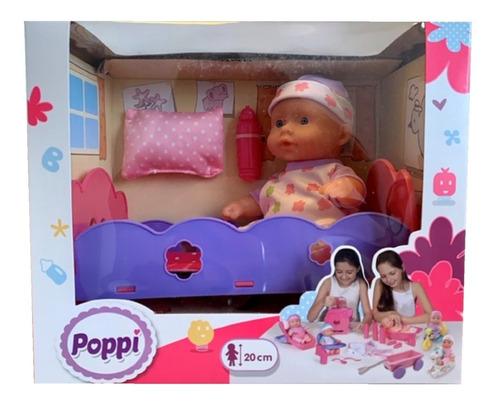 juguete muñeca bebe bebote con cunita poppi babymovil 28066