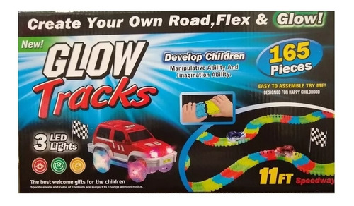 juguete niños pista autos 165 pzs glow tracks zaki