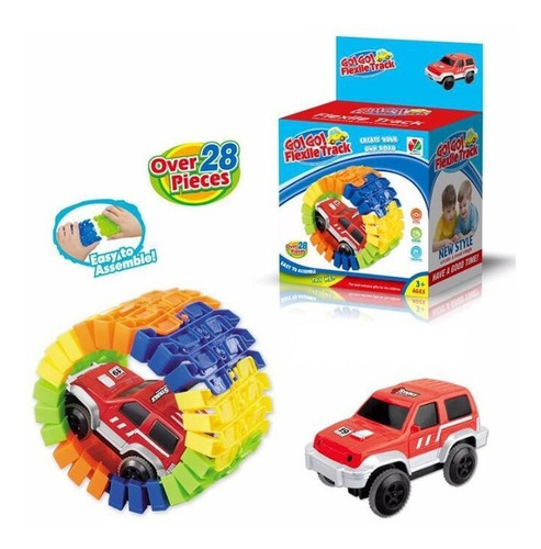 juguete niños pista de autos 28 pzs 1 auto zaki babymovil