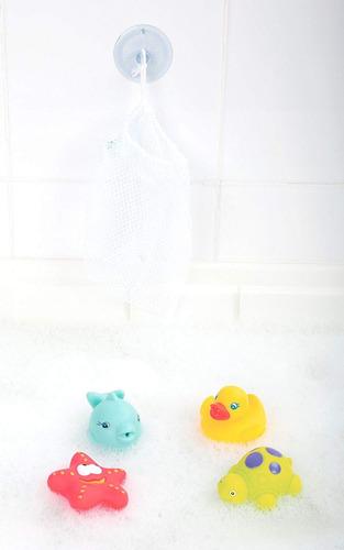 juguete para el agua con red de guardado con ventosa 5 pzas