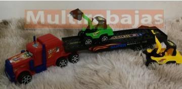 juguete para niños carro trailer con retroexcavadoras
