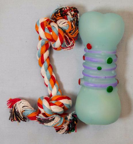 juguete para perro en forma de hueso con cuerda