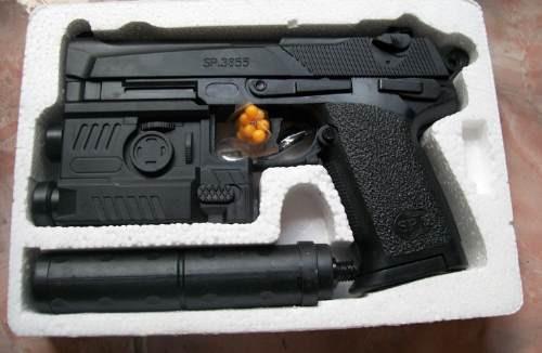 juguete pistola sp3855fd + municiones plasticas+ láser