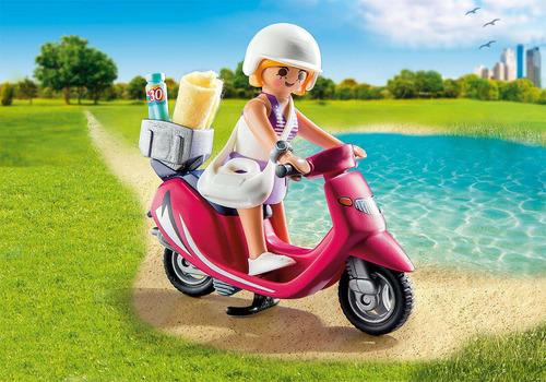 juguete playmobil 9084 mujer con scooter moto original
