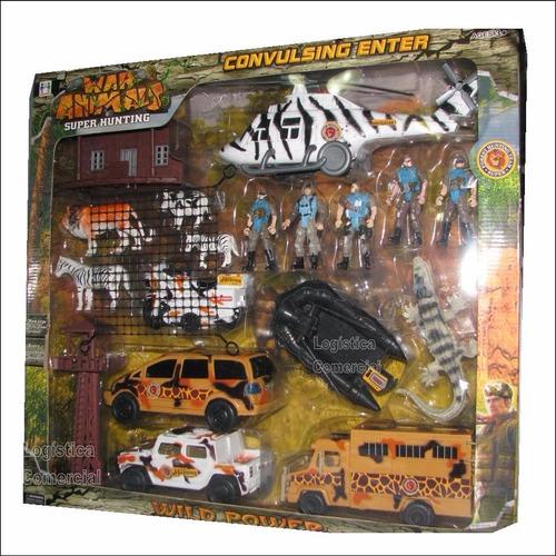 juguete selva niños jungla cazadores carro helicoptero leon