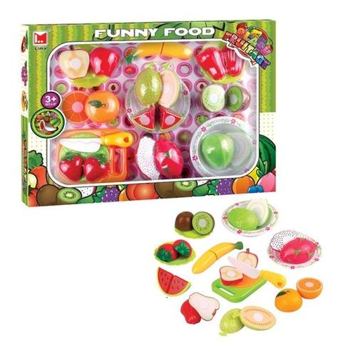 juguete set de frutas y verduras + accesorio para cocinar
