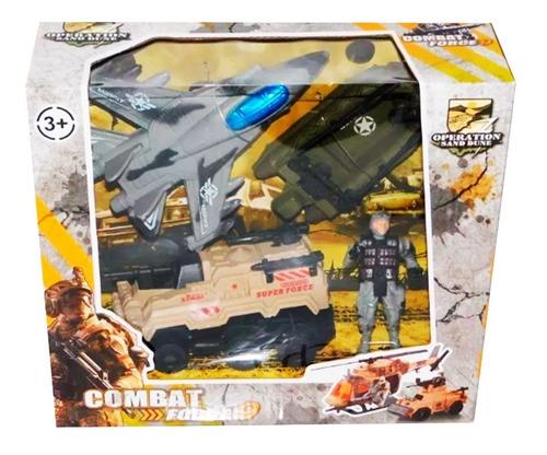 juguete set guerra niños con avion y tanque soldado