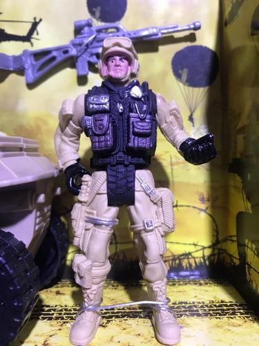 juguete set guerra soldado con cuatrimoto incluye armas niño