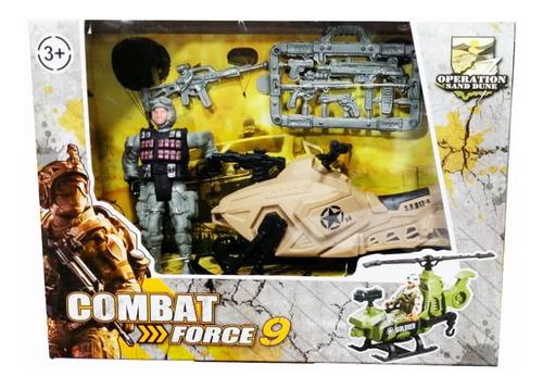 juguete set guerra soldado con lancha acuatica + armas niño